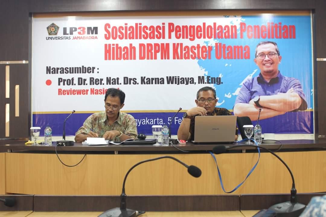 SOSIALISASI PENGELOLAAN PENELITIAN HIBAH DRPM KLASTER UTAMA 2020